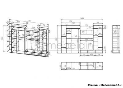размеры стенки Мебелайн-16