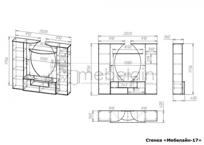 размеры стенки Мебелайн-17
