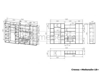размеры стенки Мебелайн-18