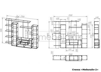 размеры стенки Мебелайн-2