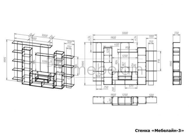 размеры стенки Мебелайн-3