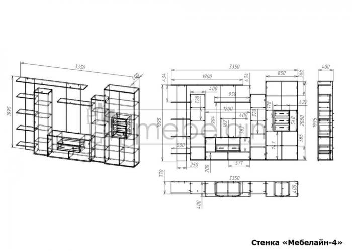 размеры стенки Мебелайн-4