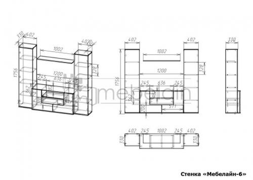 размеры стенки Мебелайн-6