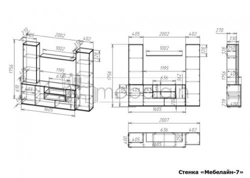 размеры стенки Мебелайн-7