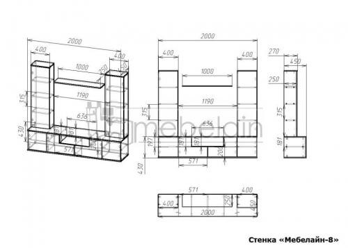размеры стенки Мебелайн-8
