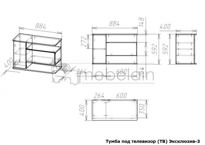 размеры тумбы Эксклюзив Мебелайн-3