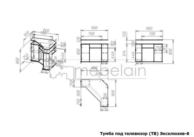 размеры тумбы Эксклюзив Мебелайн-6
