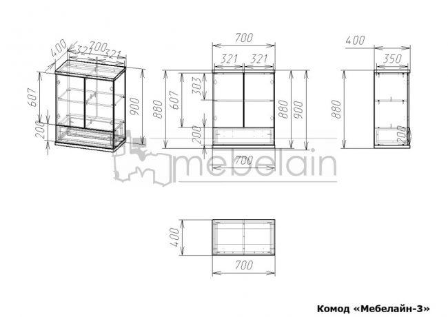размеры Комод Мебелайн 3