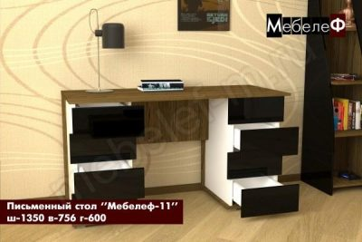письменный стол Мебелеф-11 черный глянец открытый