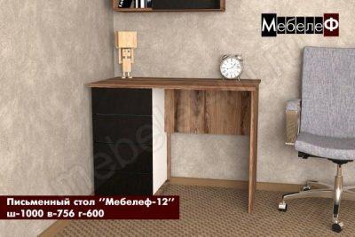 письменный стол Мебелеф-12 черный глянец