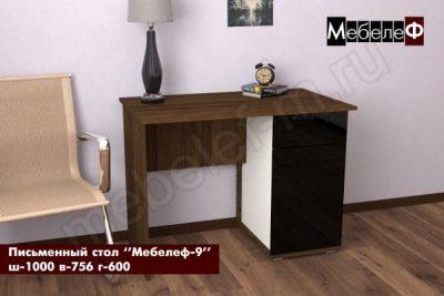 письменный стол Мебелеф 9 черный глянец