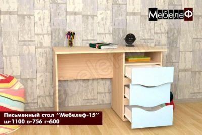 письменный стол Мебелеф 15 голубой глянец открытый
