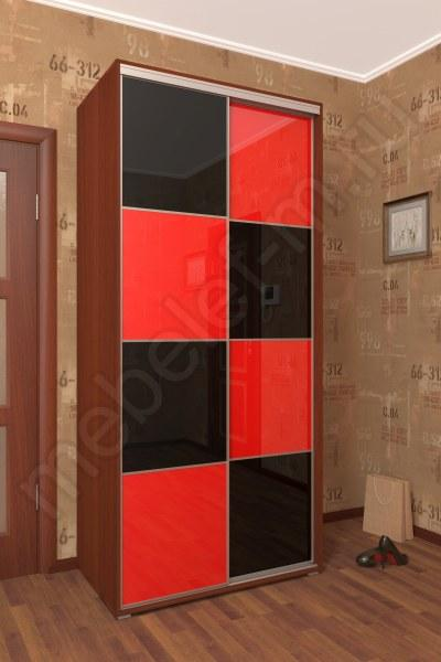 шкаф купе Мебелеф 4 красный черный глянец
