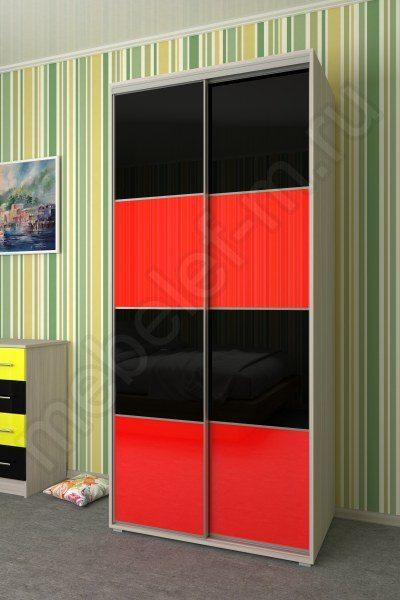 шкаф купе Мебелеф 5 красный черный глянец