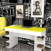 стол для ноутбука Мебелеф 12 белый   желтый глянец