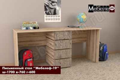 письменный стол Мебелеф 19 серый шпат