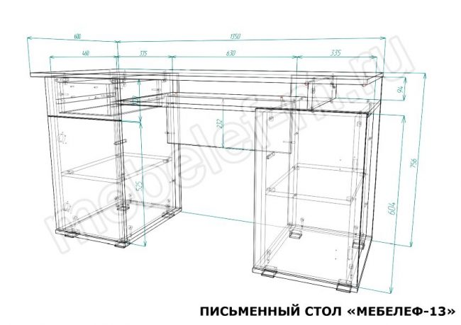 Письменный стол Мебелеф 13 размеры