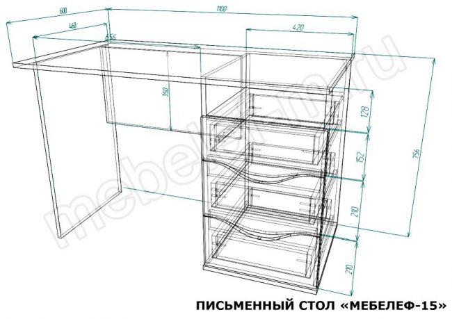 Письменный стол Мебелеф 15 размеры