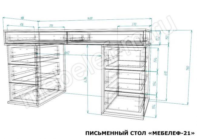 Письменный стол Мебелеф 21 размеры