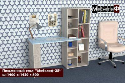письменный стол Мебелеф 25 ясень шимо   голубой глянец