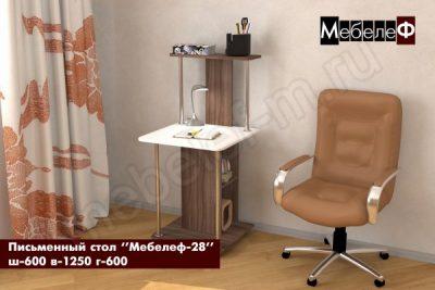 письменный стол Мебелеф 28 ясень шимо темный   белый глянец
