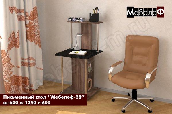 письменный стол Мебелеф 28 ясень шимо темный   черный глянец