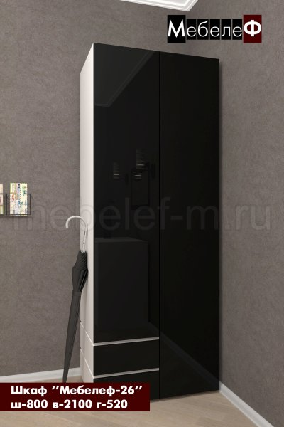 Распашной шкаф Мебелеф 26 белый   черный глянец