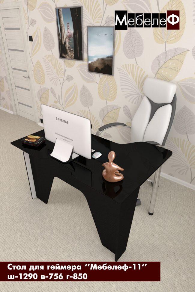 стол для геймеров Мебелеф 11 черный глянец