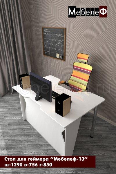 стол для геймеров Мебелеф 13 белый глянец