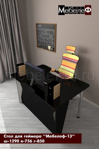 стол для геймеров Мебелеф 13 черный глянец