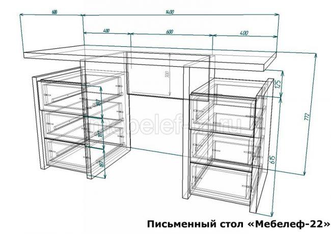 Письменный стол Мебелеф 22 размеры